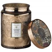 Voluspa Copper Clove Large Embossed Glass Doftljus