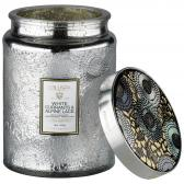 Voluspa White Currants & Alpine Lace Large Embossed Glass Doftljus
